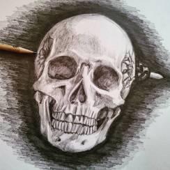 Sabato positivo. #pencil #portrait #skull #bullet #head #suicide
