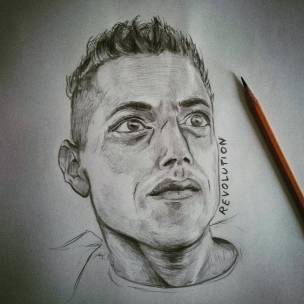 Revolution Elliot #ramimalek #mrrobot #pencil #portrait #pencildrawing #revolution #fsociety
