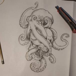 Tattoo concept #drawing #pencildrawing #tattoo #octopus #skull #skulltattoo