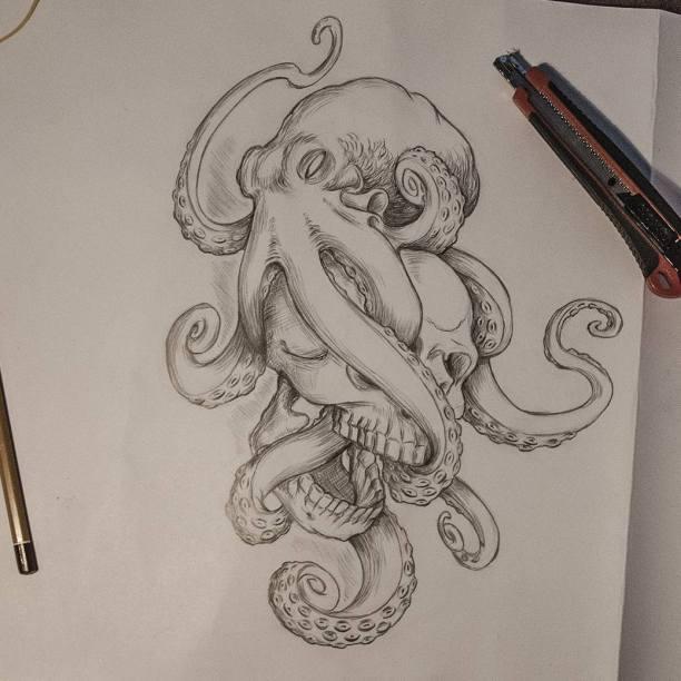Tattoo concept #drawing #pencildrawing #tattoo #octopus #skull #skulltattoo