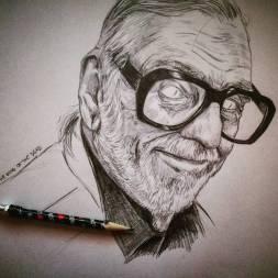 The King of the dead. The real king! #romero #georgeromero #georgearomero #portrait #pencildrawing #pencil #dead #nightoflivingdead #zombie